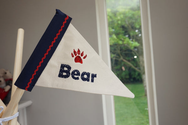 Personalised flag with bear print