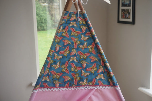 Butterfly fabric on teepee topper