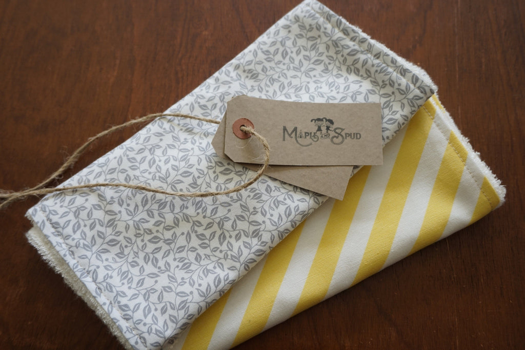 Burp Cloth Organic Bamboo Toweling (2 Pack) Grey / Yellow