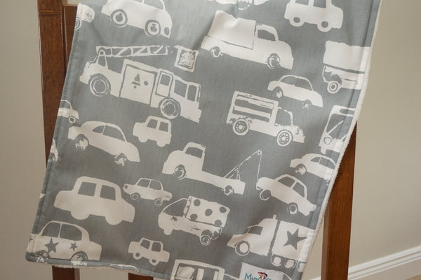 minky blanket grey car/truck fabric