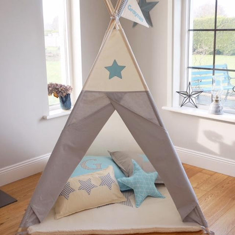blue and grey teepee
