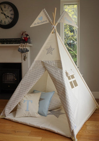 kids teepee with grey gingham doors