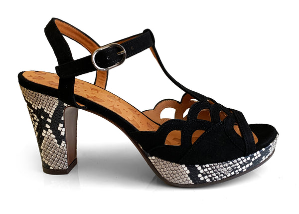 Chie Mihara Emal black suede sandal with python print