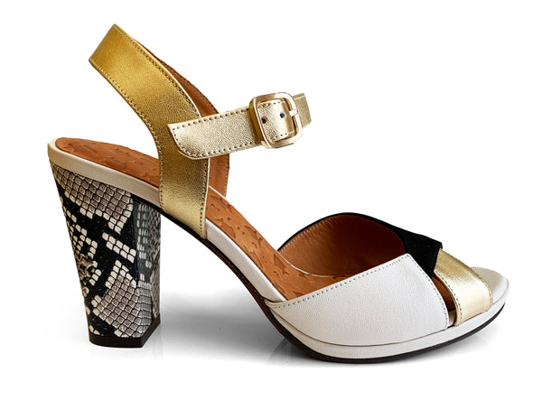 Chie Mihara Abra gold leather sandal with python print heel