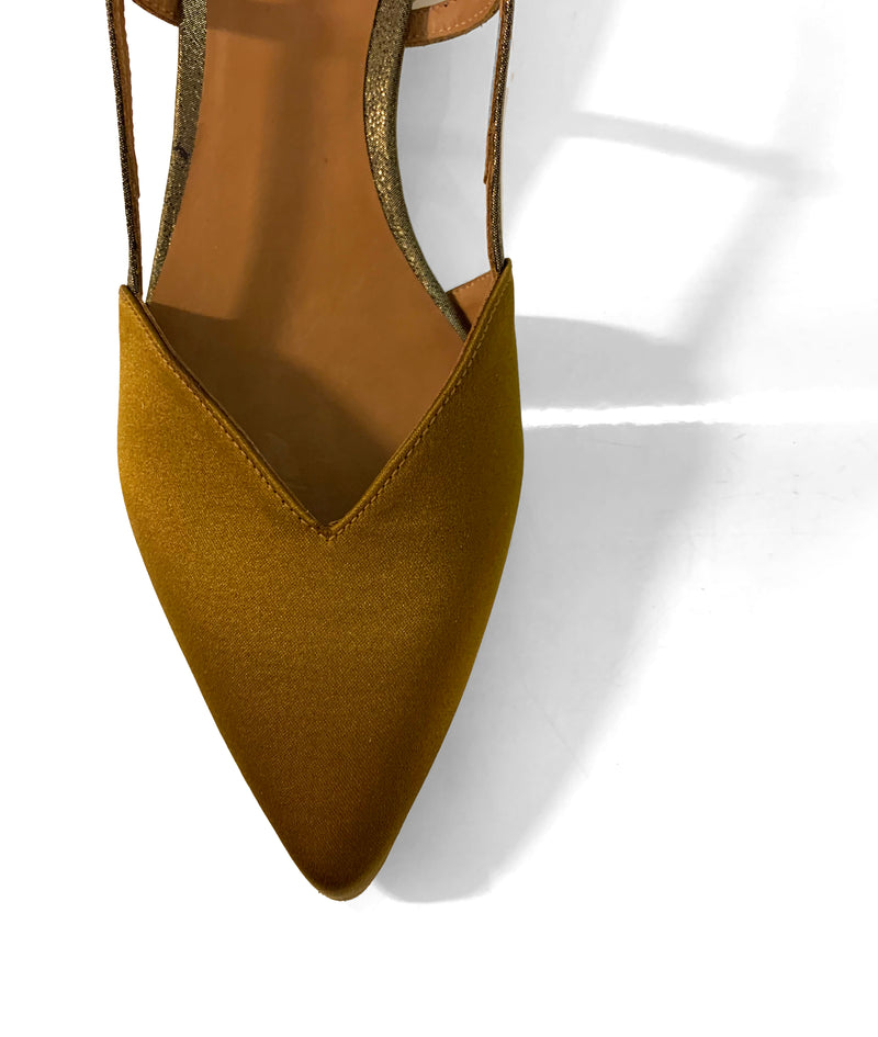 Chie By Chie Mihara Selma olive green satin shoe