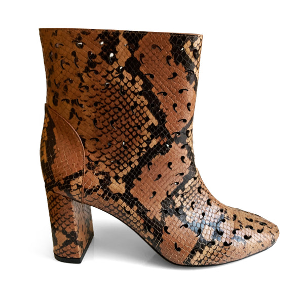 L'Autre Chose brown leather mid-heel bootie