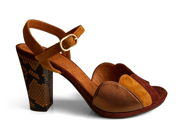 Chie Mihara Adita brown leather and suede heel sandal