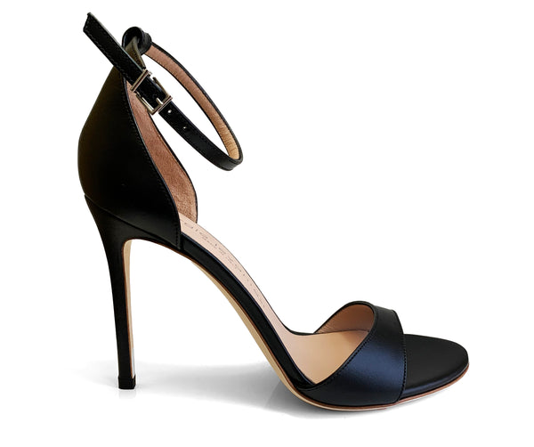 Sergio Levantesi black leather heel sandal