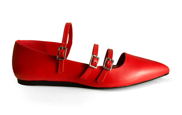 What For Paris Mathilda red leather flat shoe