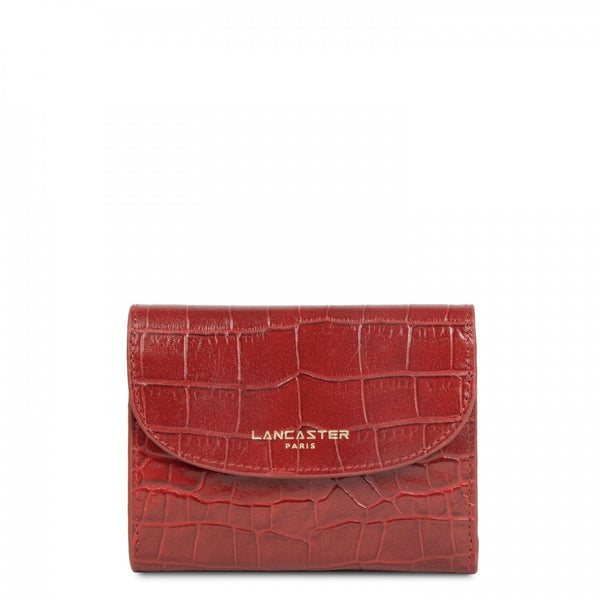 Lancaster Paris red croco finish leather mini wallet