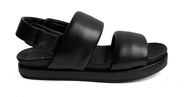 Habillè black leather flat sandal
