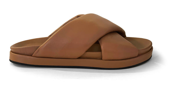 Habillè brown leather flat slippers