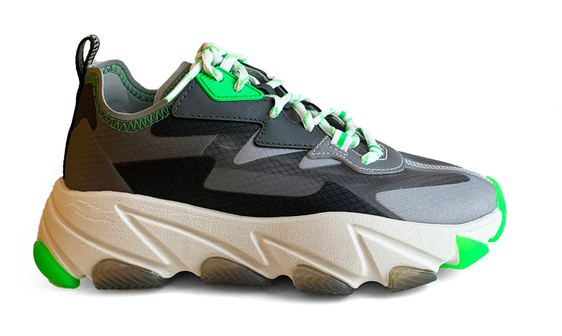 Ash Eclipse white, grey and green leather sneaker