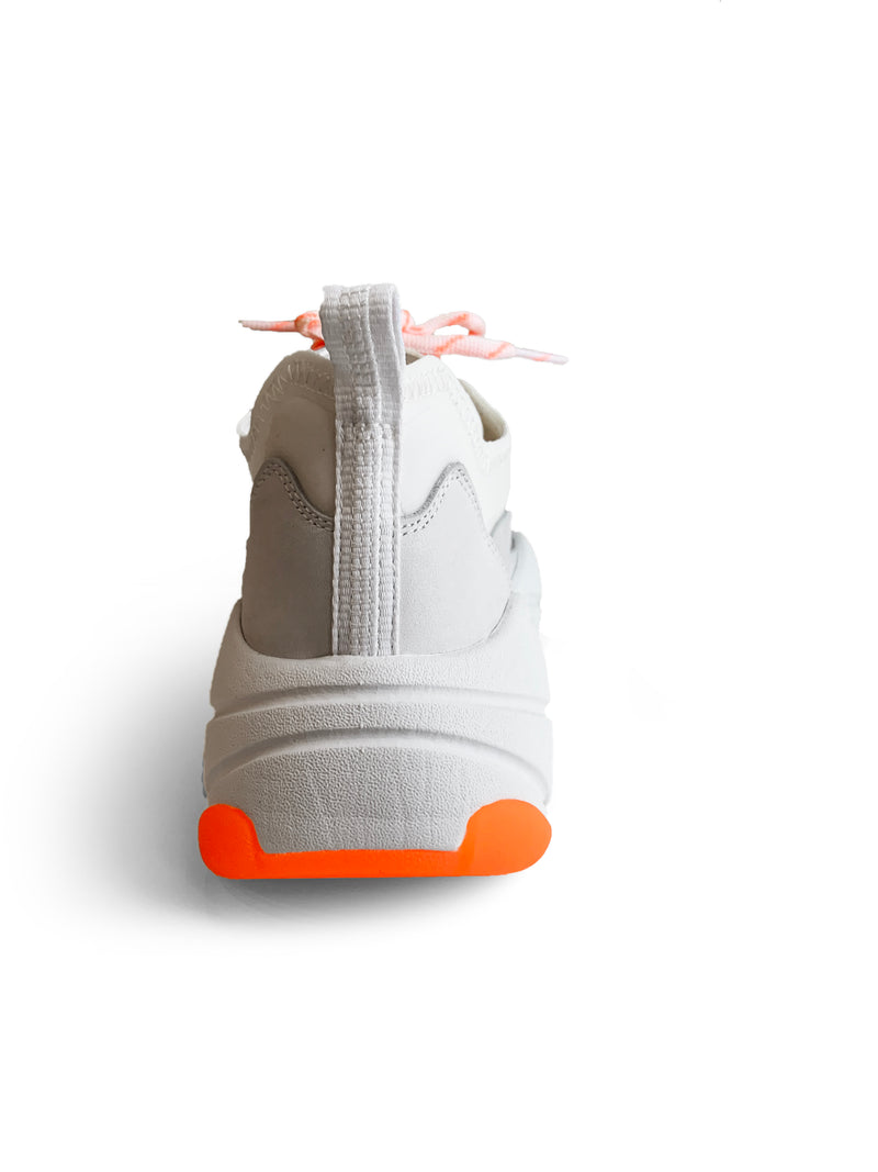 Ash Eclipse white and neon orange leather sneaker