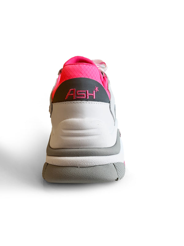 Ash Addict white and neon pink leather sneaker