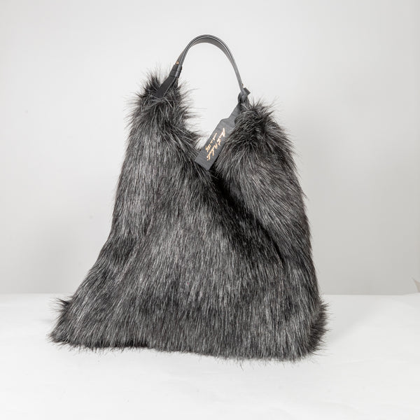 Anita Bilardi Picasso black fake fur bag