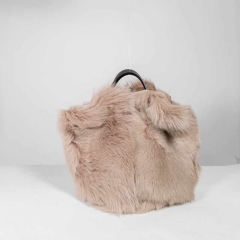 Anita Bilardi Maya beige fake fur bag