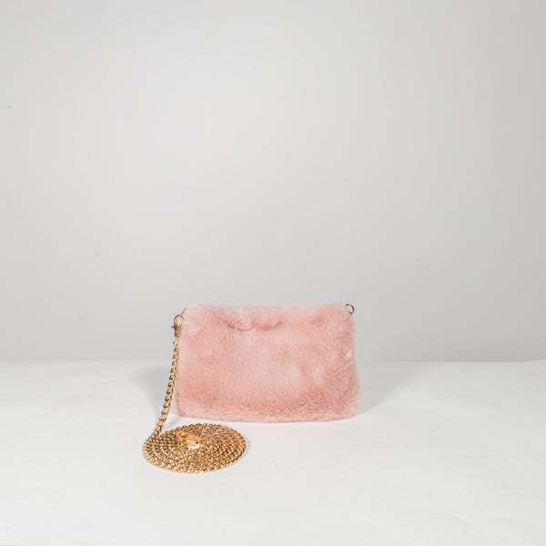 Anita Bilardi Ivanka pink fake fur clutch with shoulder bag
