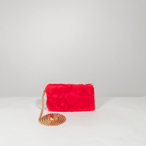 Anita Bilardi Ivanka red fake fur clutch with shoulder bag