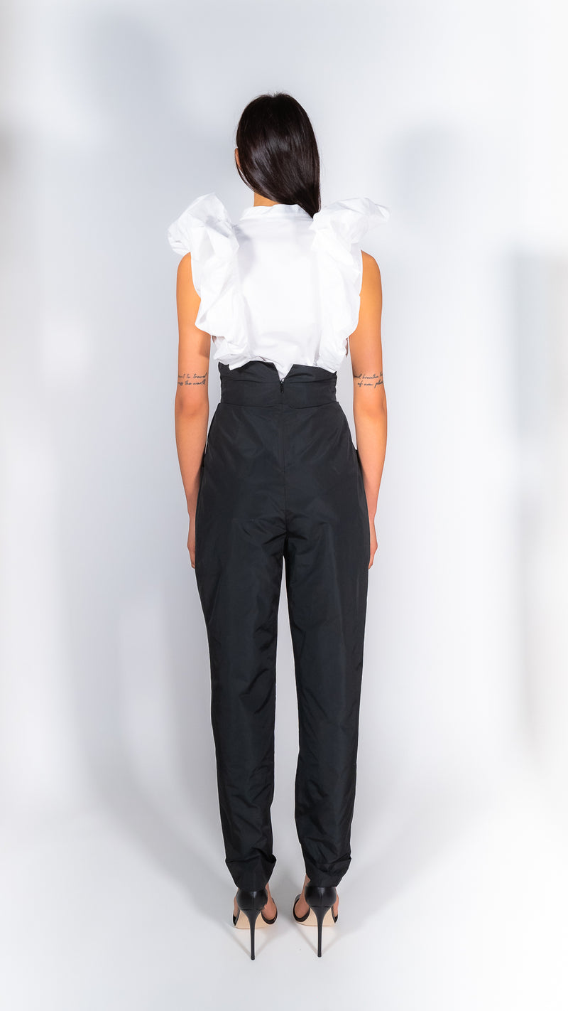 Philosophy di Lorenzo Serafini black taffeta high waist trousers