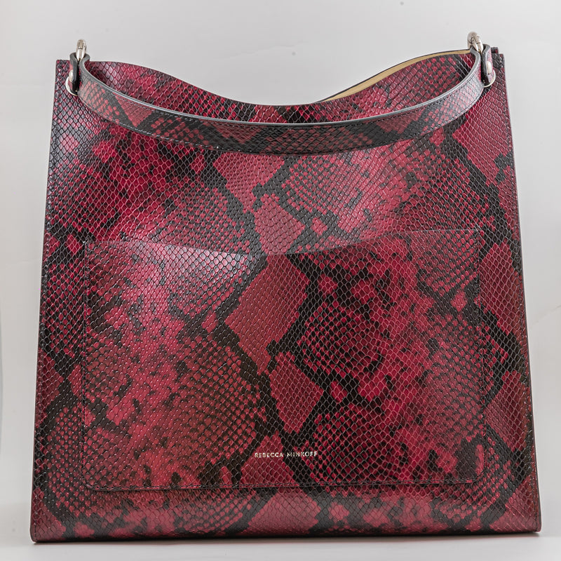 Rebecca Minkoff Ring Tote bordeaux python printed leather bag