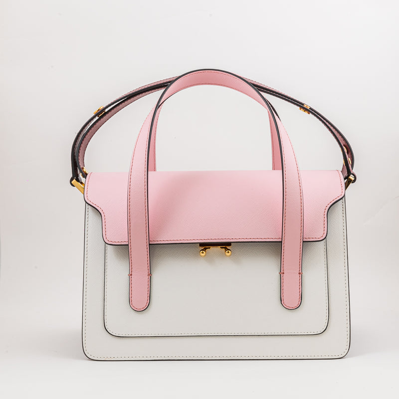 Marni pink, white and brodeaux shoulder bag in saffiano calfskin leather