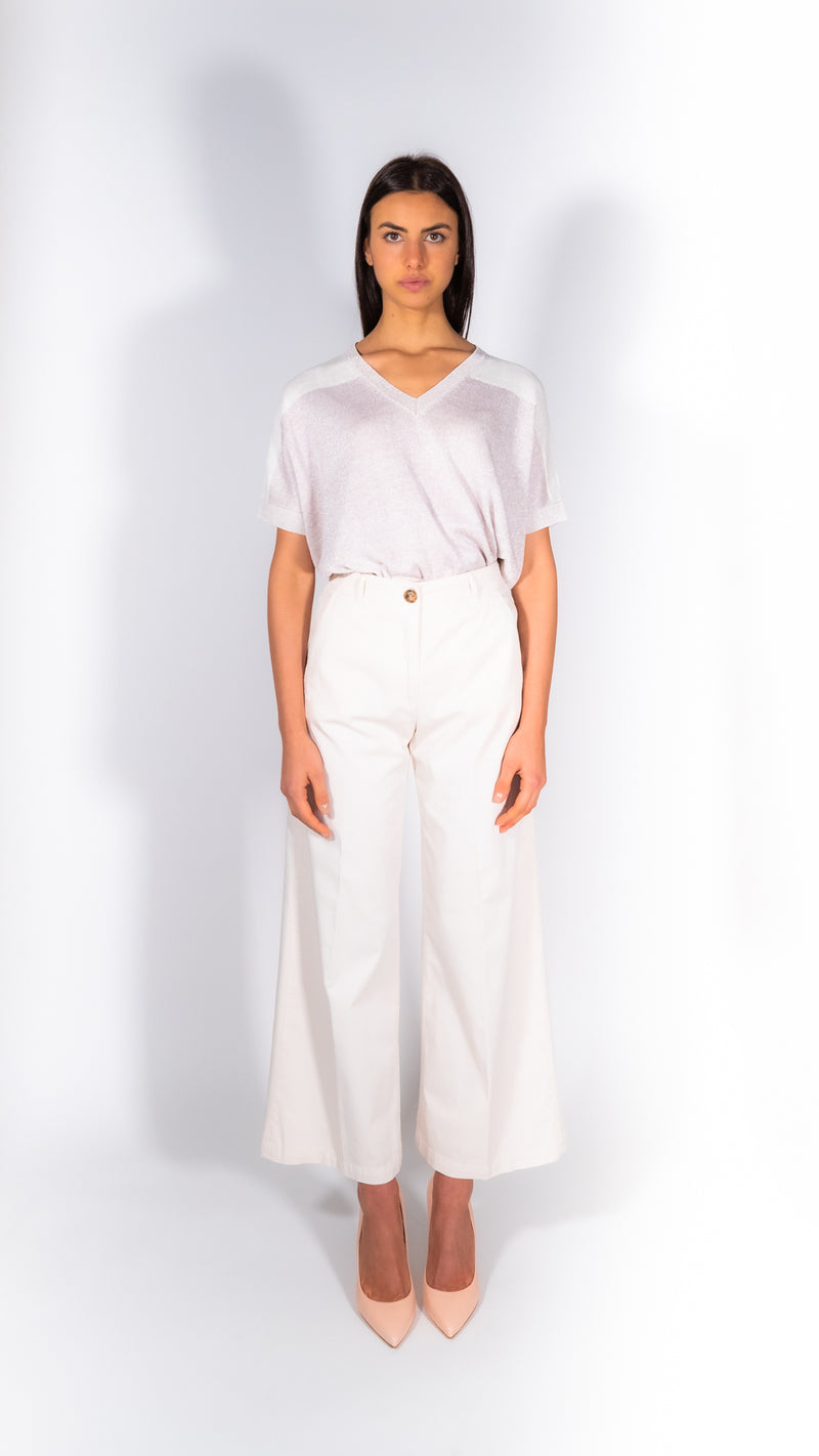 Cappellini by Peserico beige cotton palazzo pants