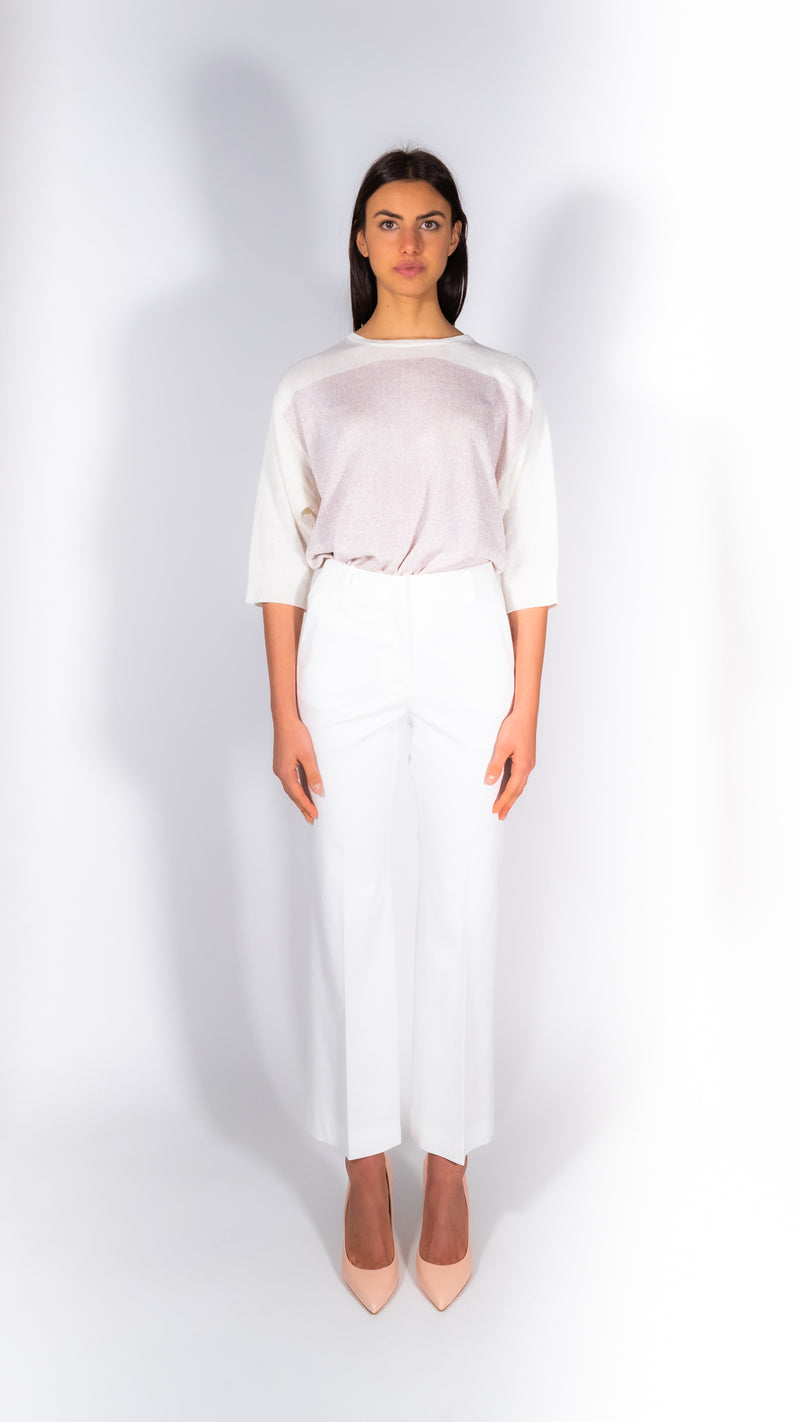 Cappellini by Peserico white cotton slim pants