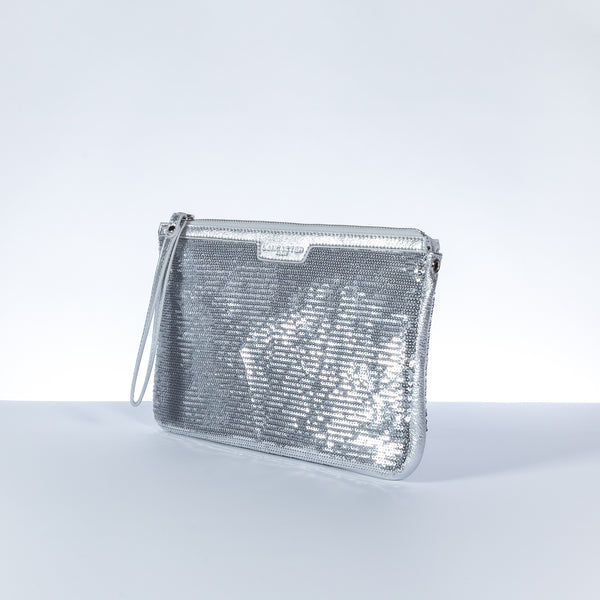 Lancaster Paris silver leather clutch with paillettes