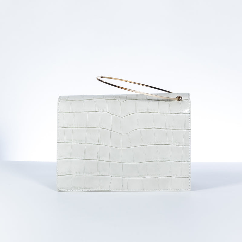 L'Autre Chose white leather crossbody bag with gold ring