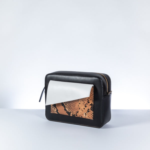 L'Autre Chose white, black and brown leather with python print crossbody bag