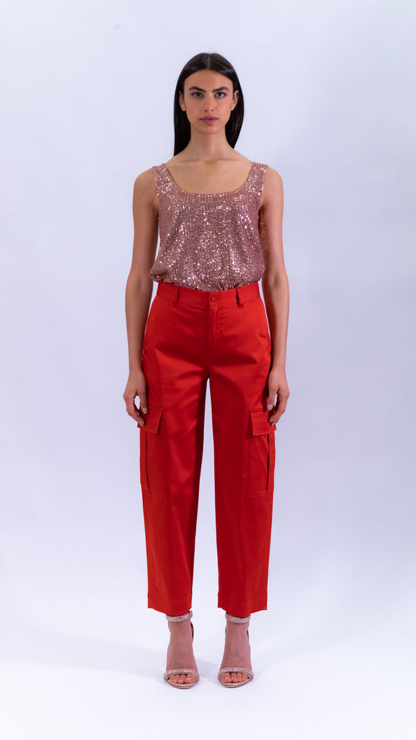 L'Autre Chose coral red silk and cotton cargo pants