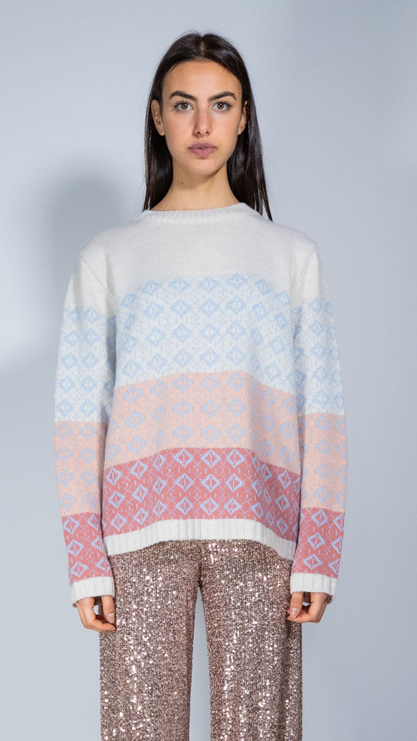 Dv Roma ivory, pink and light blue wool jumper