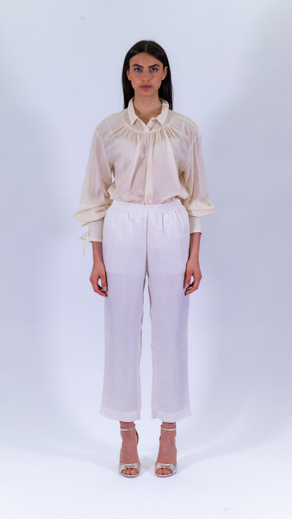 L'Autre Chose ivory silk pants