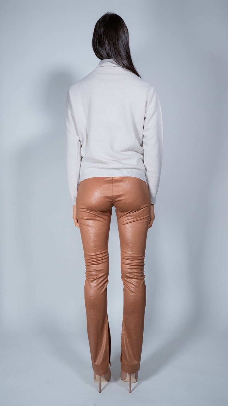Marchè_21 antique pink faux leather leggins