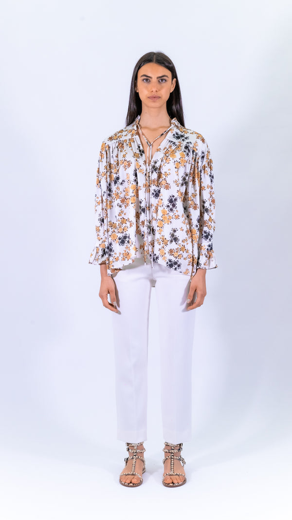 Victoria Victoria Beckham white and brown sleeves oversized shirt