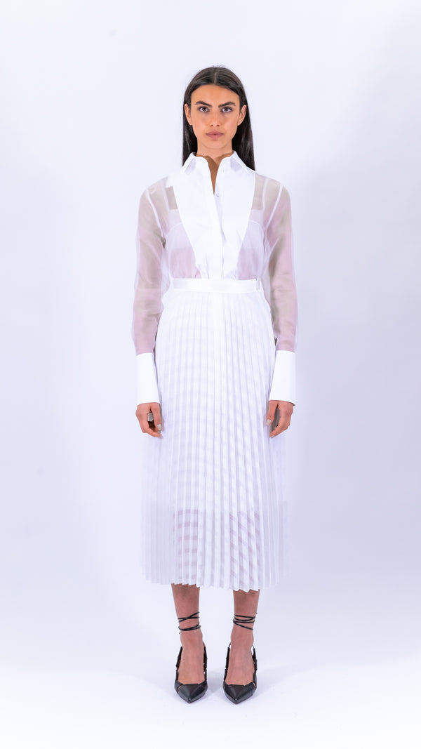 Victoria Victoria Beckham white pleated skirt