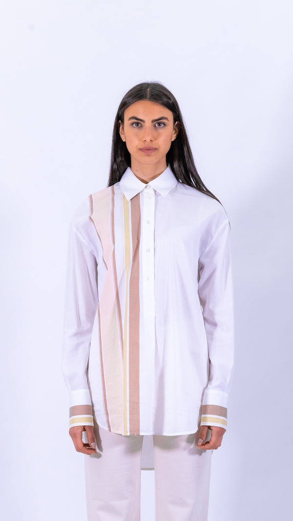 Victoria Victoria Beckham white and brown sleeves oversized cotton shirt