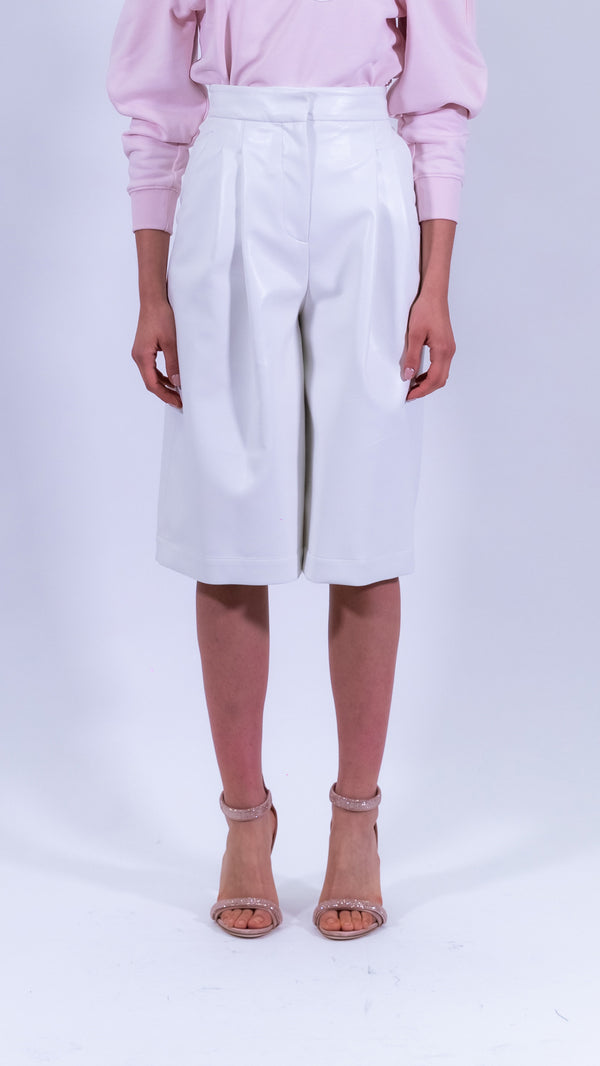 Philosophy di Lorenzo Serafini white faux leather short pants