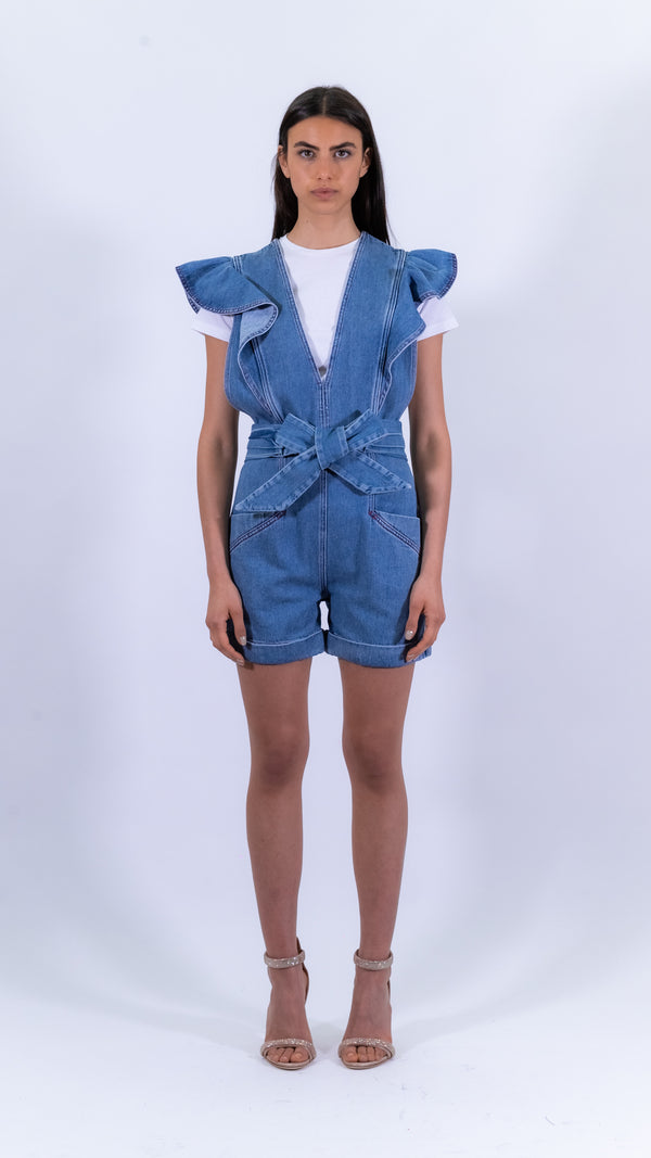 Philosophy di Lorenzo Serafini blue denim mini overalls