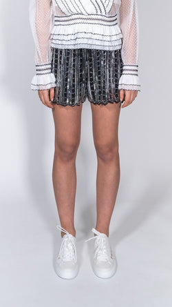 Odì Odì white and black paillettes shorts