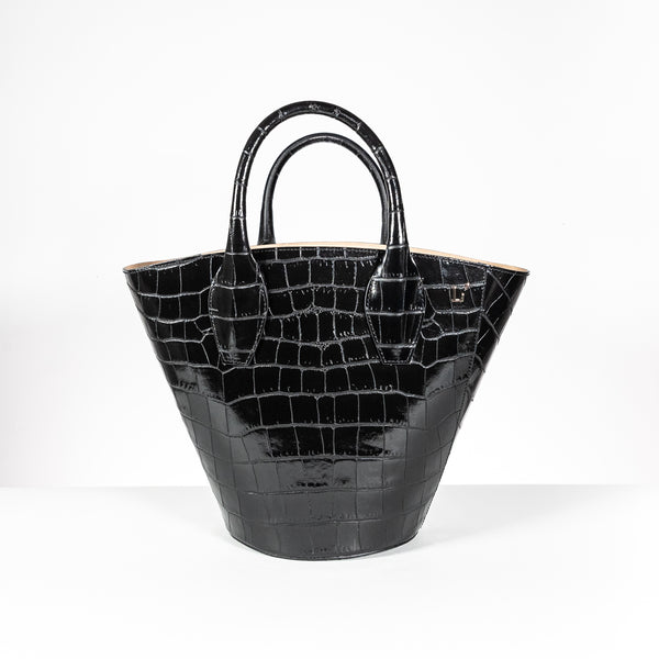 L'Autre Chose black leather shopping bag
