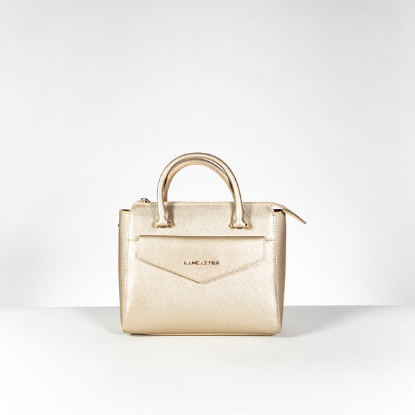 Lancaster Paris champagne saffiano leather bag