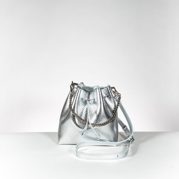 Lancaster Paris silver leather mini bucket bag