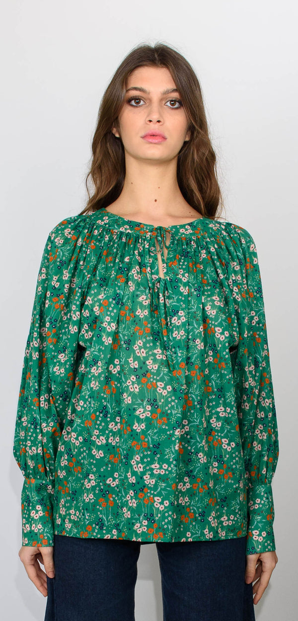 L'Autre Chose Shirt with long sleeves green printed