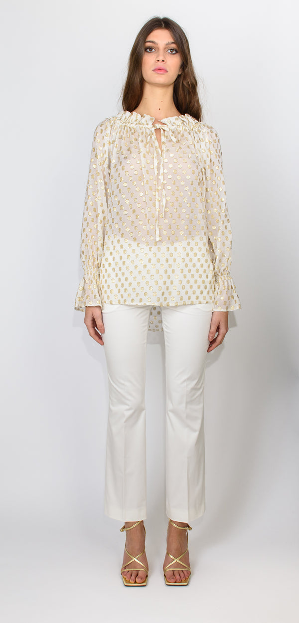 L'Autre Chose Top with long sleeves cream and gold