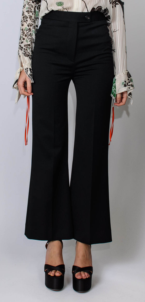 Victoria Victoria Beckham High waist cropped lightweight stretch black trousers