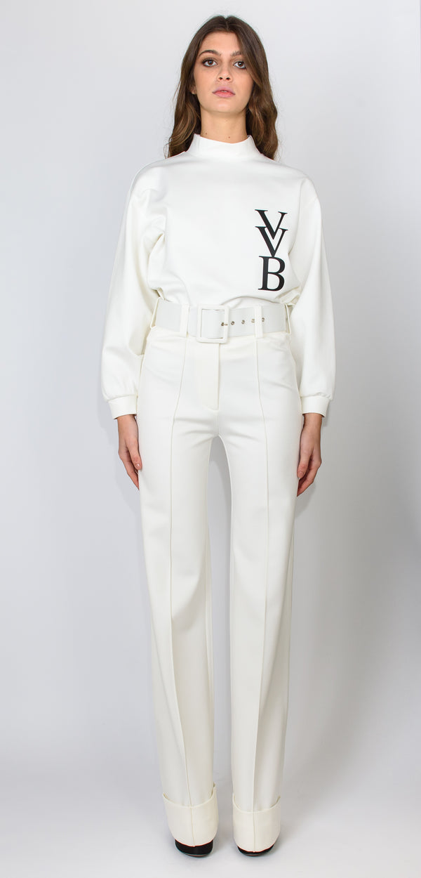 Victoria Victoria Beckham Belted ponti jersey ivory trouser
