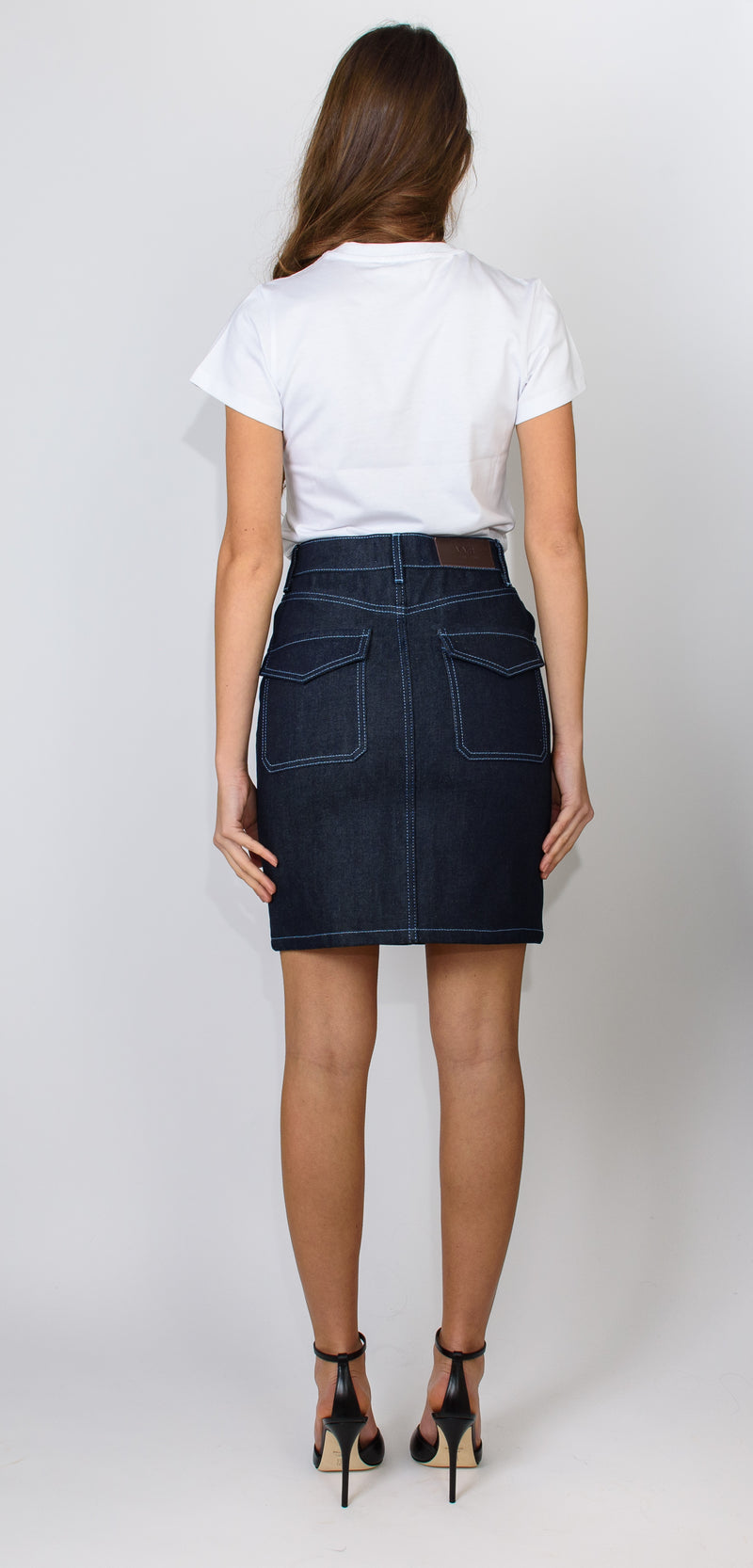 Victoria Victoria Beckham Rainbow stitch denim mini skirt