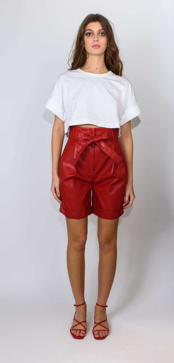 Philosophy di Lorenzo Serafini Red vegan leather shorts